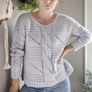 525 America ice blue cable knit sweater chunky #55